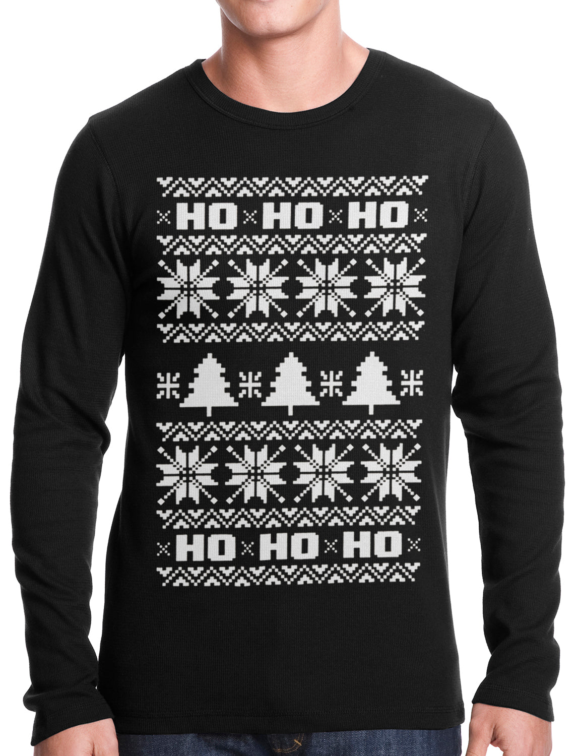 Ugly Christmas Thermal - Snowflake HO HO HO Thermal Shirt