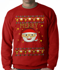 Ugly Christmas Sweater - Ugly Christmas Tee - Emoji Santa Ugly Christmas Adult Crewneck
