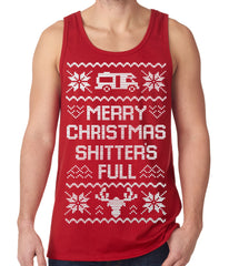 Ugly Christmas Tank Top - Merry Christmas Shitters Full Ugly Tank Top