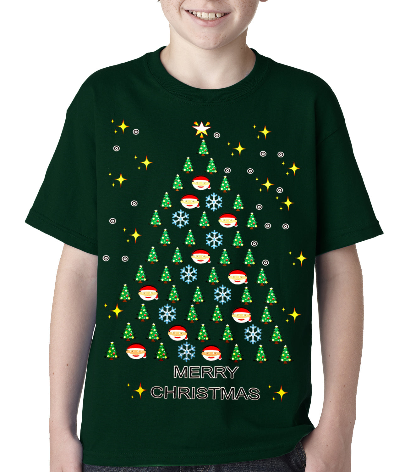 91930c0fa3a Ugly Christmas Tee - Emoji Christmas Tree Ugly Christmas Kids T-shirt