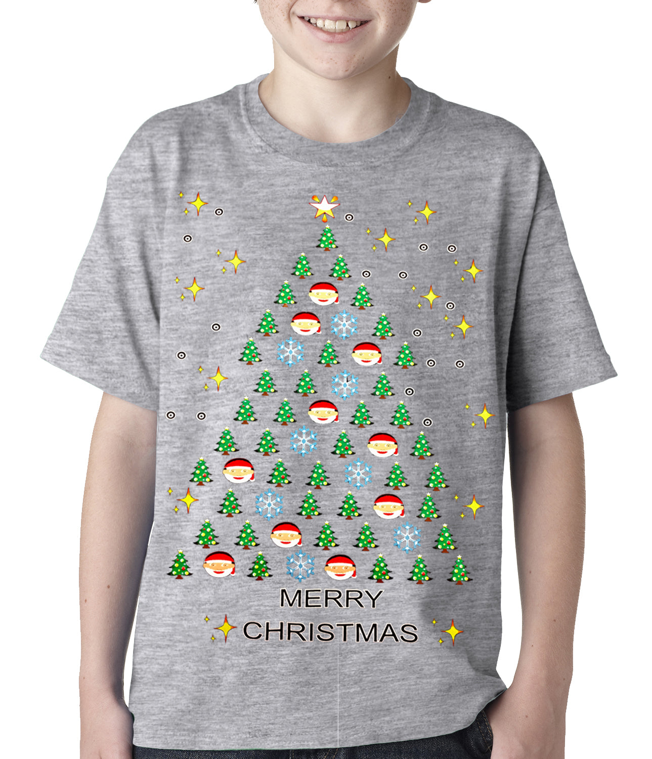 Emoji Christmas Tree Ugly Christmas Kids T Shirt Bewild