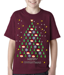 Ugly Christmas Tee - Emoji Christmas Tree Ugly Christmas Kids T-shirt