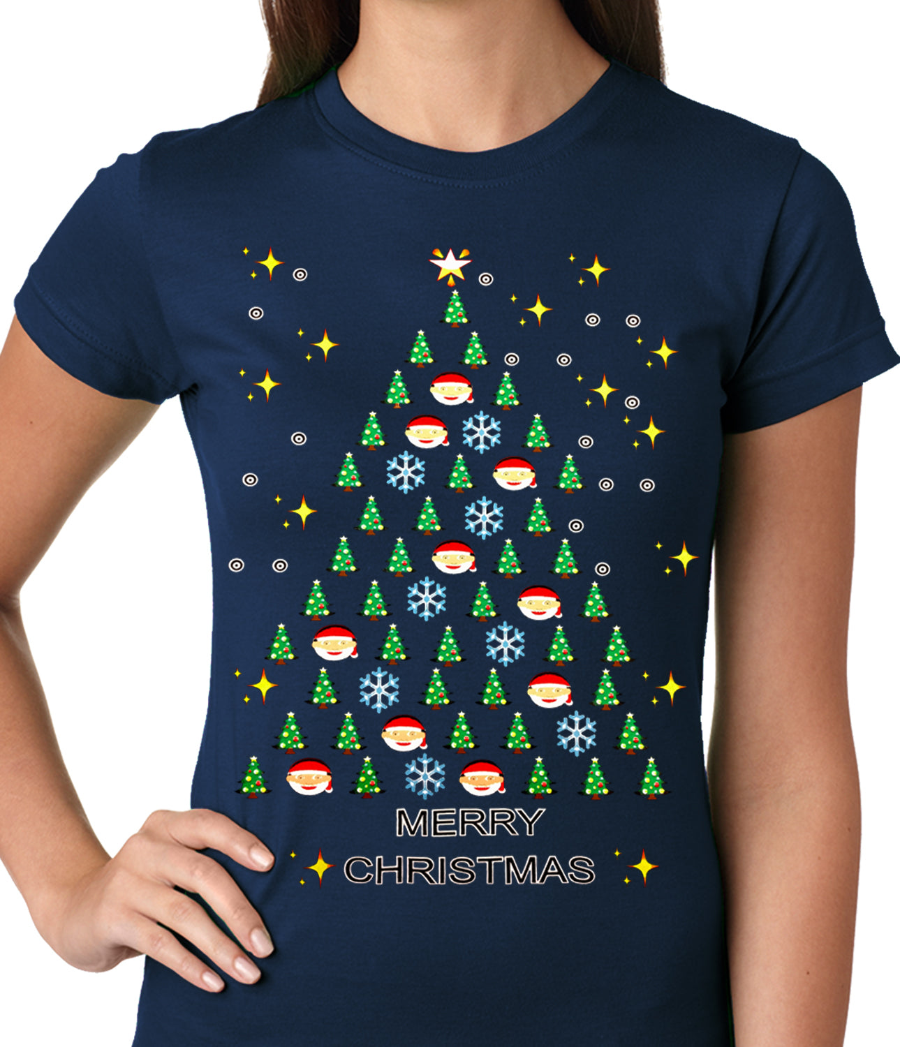 b7c0ddb0aaf Ugly Christmas Tee - Emoji Christmas Tree Ugly Christmas Ladies T-shirt