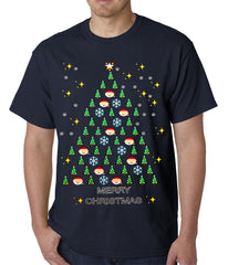 Ugly Christmas Tee - Emoji Christmas Tree Ugly Christmas Mens T-shirt