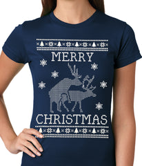 Ugly Christmas Tee - Humping Reindeer Ugly Christmas Ladies T-shirt