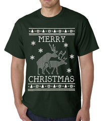 Ugly Christmas Tee - Humping Reindeer Ugly Christmas Mens T-shirt