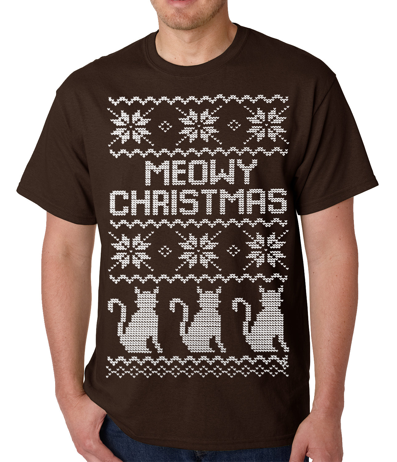 Ugly Christmas Tee - Meowy Christmas (White Print) 3 Cats Ugly Christmas Mens T-shirt
