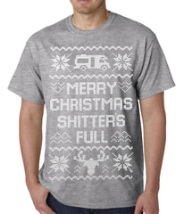 Ugly Christmas Tee - Merry Christmas Shitters Full Ugly Mens T-shirt