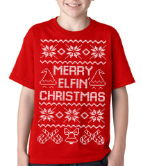 Ugly Christmas Tee - Merry Elfin Christmas Funny Ugly Christmas Kids T-shirt