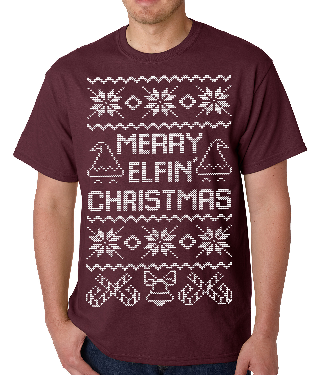 Ugly Christmas Tee - Merry Elfin Christmas Funny Ugly Christmas Mens T-shirt