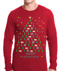 Ugly Christmas Thermal - Emoji Christmas Tree Ugly Christmas Thermal Shirt