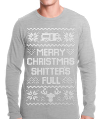 Ugly Christmas Thermal - Merry Christmas Shitters Full Ugly Thermal Shirt