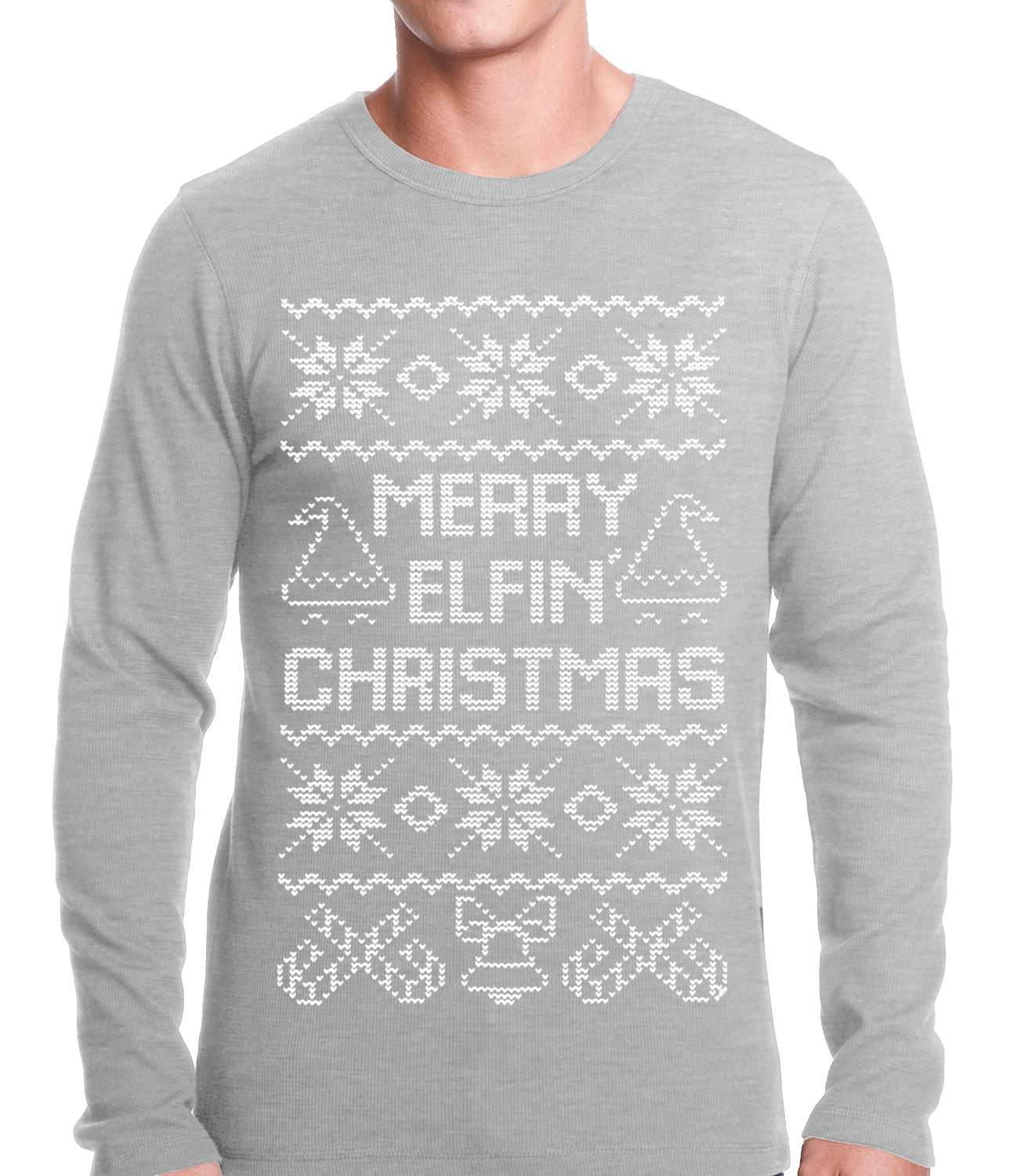 Ugly Christmas Thermal - Merry Elfin Christmas Funny Ugly Christmas Thermal Shirt