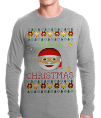 Ugly Christmas Thermal - Ugly Christmas Tee - Emoji Santa Ugly Christmas Thermal Shirt