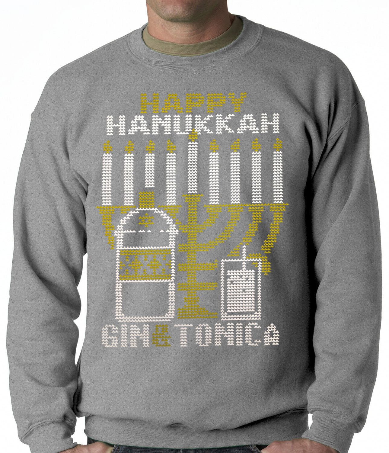 Ugly Hanukkah Sweater - Gin and Tonica Golden Menorah Ugly Hanukkah Adult Crewneck