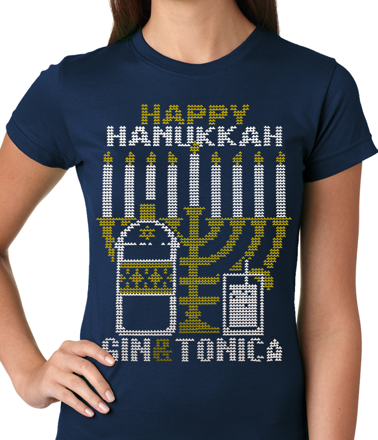 Ugly Hanukkah Tee - Gin and Tonica Golden Menorah Ugly Hanukkah Ladies T-shirt