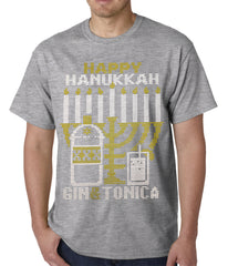 Ugly Hanukkah Tee - Gin and Tonica Golden Menorah Ugly Hanukkah Mens T-shirt