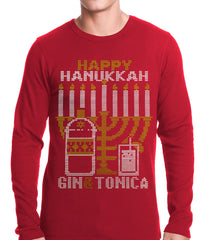 Ugly Hanukkah Thermal - Gin and Tonica Golden Menorah Ugly Hanukkah Thermal Shirt