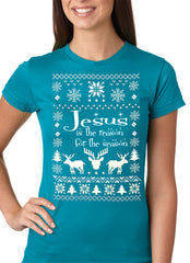 Ugly Christmas T-shirt  Jesus is the Reason Girls T-shirt