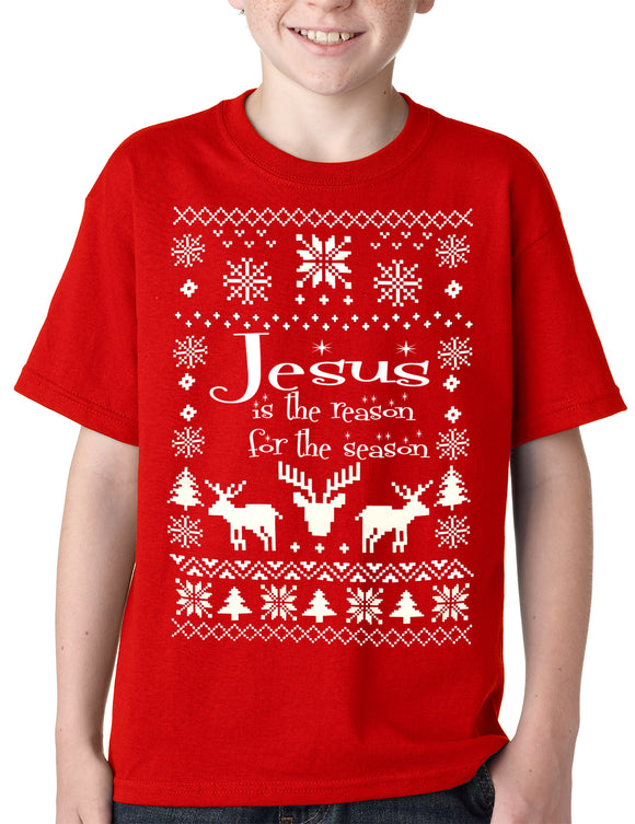 Ugly Christmas T-shirt Jesus is the Reason Kids T-shirt