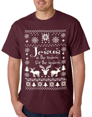 Ugly Christmas T-shirt Jesus is the Reason Mens T-shirt