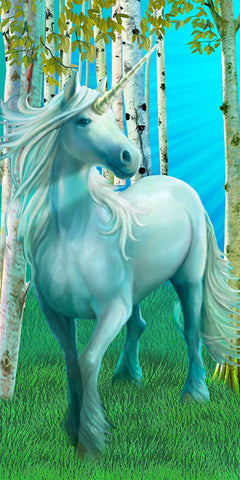 Unicorn Velour Beach Towel 30 Inches x 60 Inches