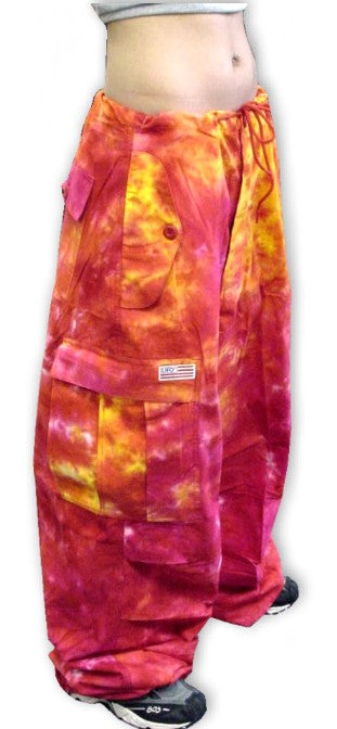 Unisex Basic UFO Pants (Fire Tie Dye)