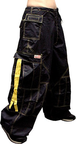 Unisex Basic UFO Pants  (Navy Blue with Yellow Contrast Stitching)