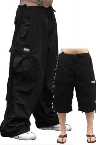 Unisex Basic UFO Pants w/ Zip Off Legs to Shorts (Black)