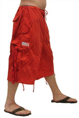Unisex Basic UFO Pants w/ Zip Off Legs to Shorts (Red)