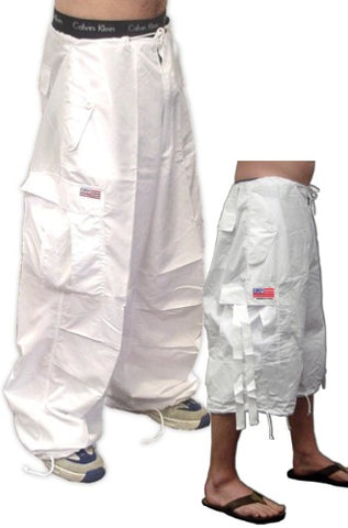 Unisex Basic UFO Pants w/ Zip Off Legs to Shorts (White)