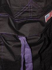 Unisex Basic UFO Pants With Contrast Stitching  (Black/Purple)
