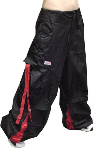 Unisex Basic UFO Pants with Expandable Bottoms  (Black/Red)