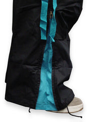 Unisex Basic UFO Pants with Expandable Bottoms (Black/Turquoise)