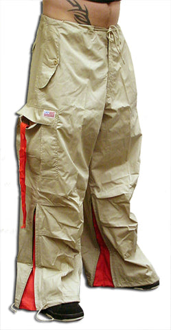 Unisex Basic UFO Pants with Expandable Bottoms (Khaki / red)