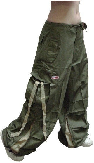 Unisex Basic UFO Pants with Expandable Bottoms  (Olive)