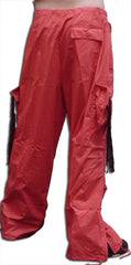 Unisex Basic UFO Pants with Expandable Bottoms (Red / Black)