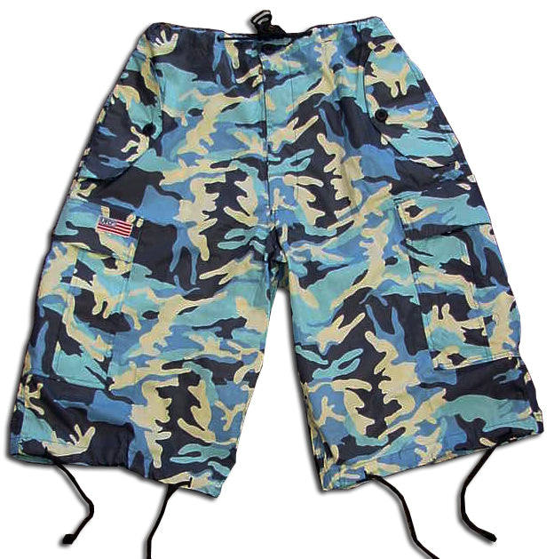 Unisex Basic UFO Shorts (Dark Blue Camo)