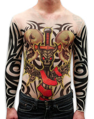 Unisex Full Body Tattoo Shirt - Demon Sword and Skulls