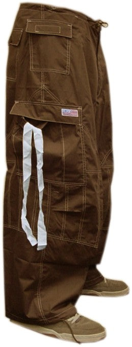 Unisex UFO Pants with Contrast Color (Brown/White)