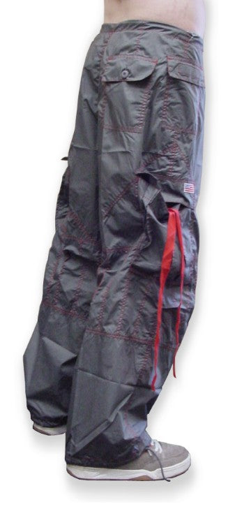 Unisex UFO Pants with Contrast Color (Grey/Red)