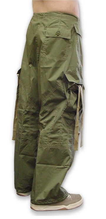 Unisex UFO Pants with Contrast Color (Olive Green/Khaki)