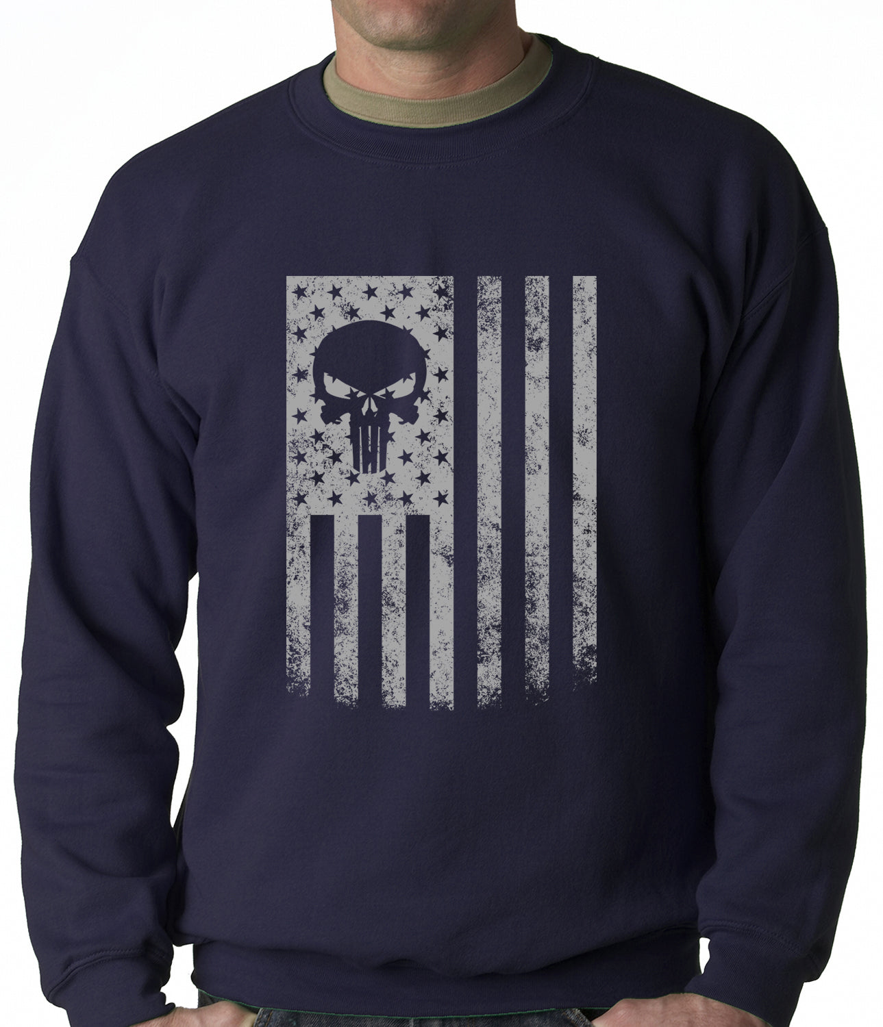 USA - American Flag Military Skull Adult Crewneck