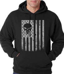 USA - American Flag Military Skull Adult Hoodie