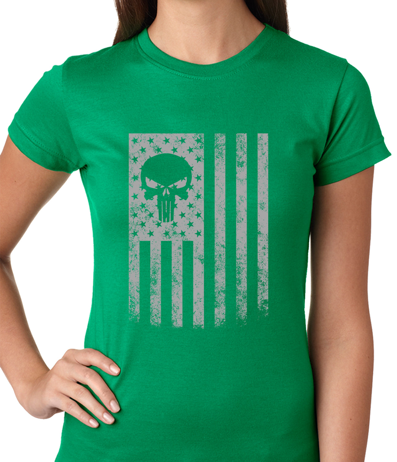 USA - American Flag Military Skull Ladies T-shirt