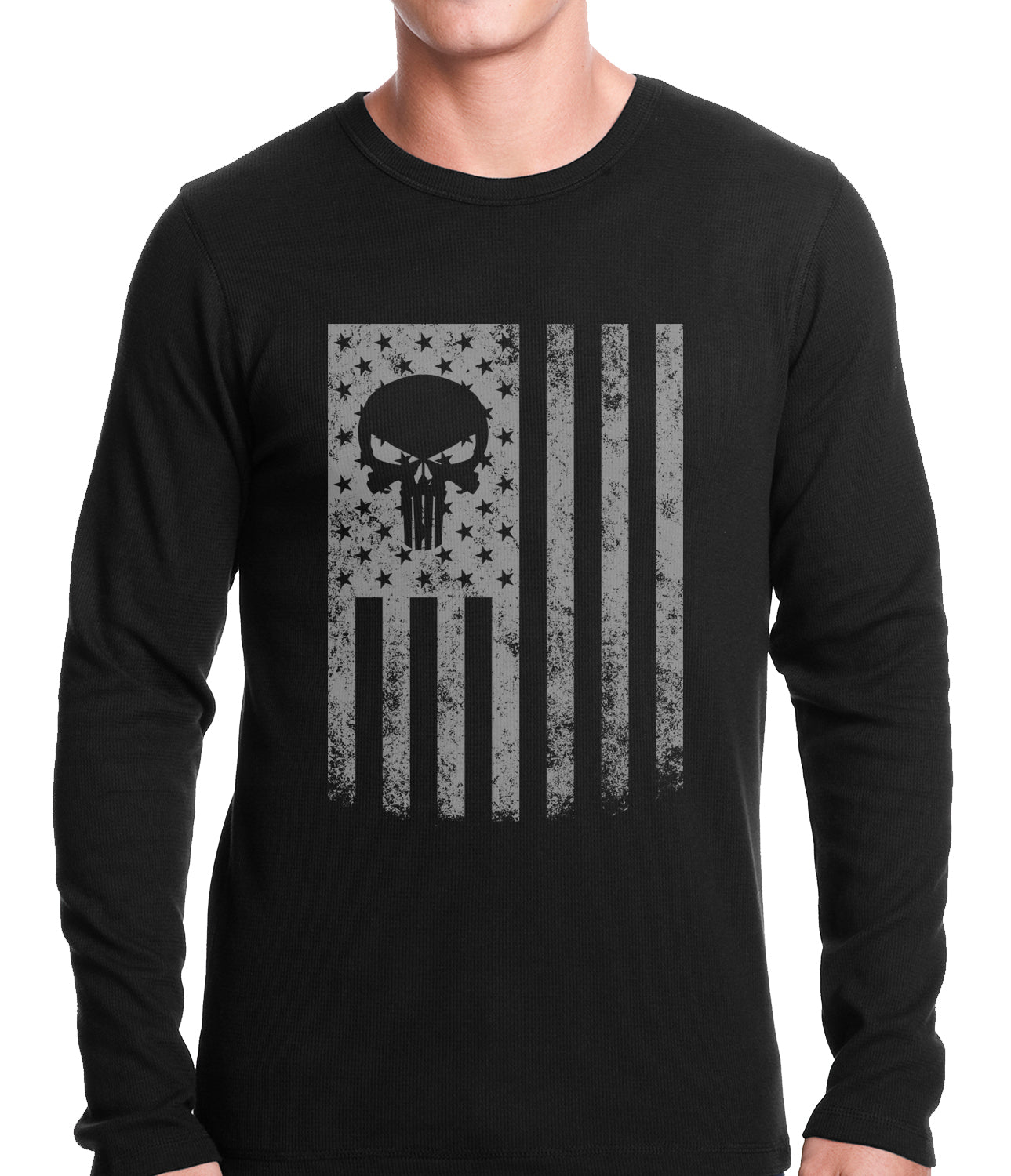 USA - American Flag Military Skull Thermal Shirt