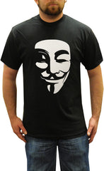 V For Vendetta Mask Men's T-Shirt (Black)
