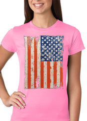 Vertical Distressed American Flag Girls T-shirt