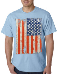 Vertical Distressed American Flag Mens T-shirt