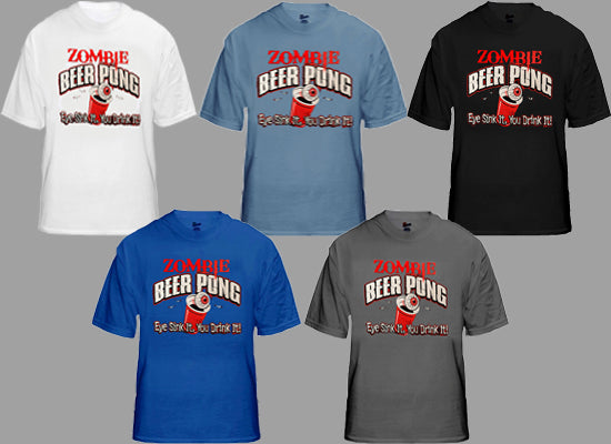 Zombie Beer Pong Mens T-shirt
